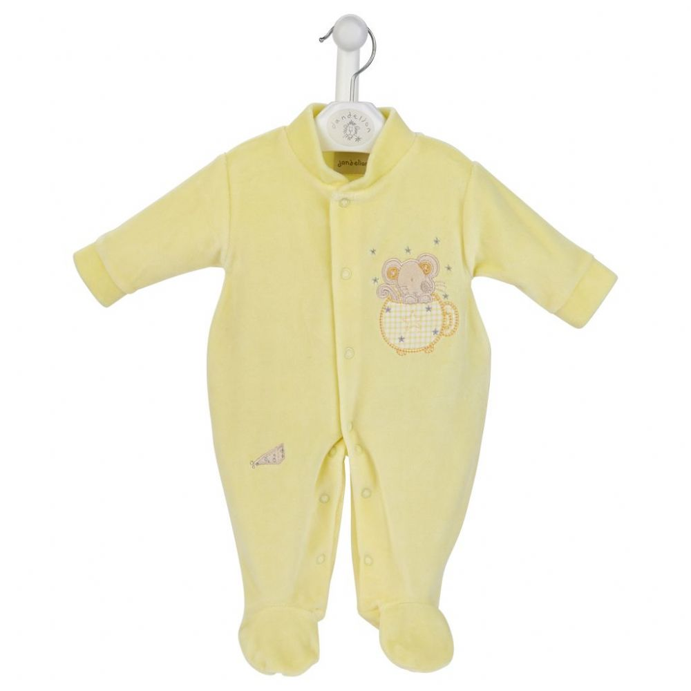 AV1202 L Mouse in Teacup Velour Sleepsuit